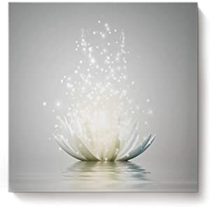 Canvas Wall Art Square Artworks for Bedroom Living Room Home Decor,Art Lotus Flower Pattern White Artwork for Wall,Stretched by Wooden Frame,Ready to Hang,20 x 20 Inch