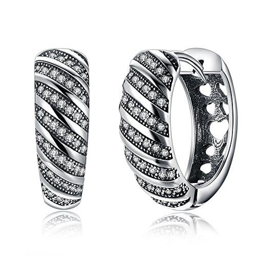 Silver Hoop Earrings, LEKANI 925 Sterling Silver Tribal Earrings with Thai Classic Style Cubic Zirconia Hoop Earrings for Women & Girls