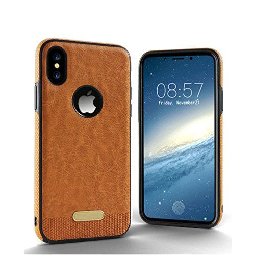5SR iPhone X Case [Premium Materials] with Anti-Slip Grip, Super Soft PU Leather and Durable Slim Phone Case Technology Protects Apple iPhone 10 From Scratches, Cracks, and Dents [Brown - Logo Gucci Gold