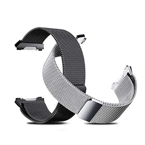 Tecson Metal Bands Compatible Fitbit Ionic (Pack of 2), Stainless Steel Milanese Loop Strap with Magnetic Closure Clasp for Fitbit Ionic Smartwatch, Smoke Gray and Silver