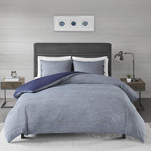 Madison Park Raven 3 Piece Cotton Yarn Dye Duvet Cover Bedding Set, King/Cal King Size, Denim Blue