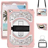 GEEKSDOM Case for iPad 9.7 2018,Case for iPad 6th Generation Three Layer Heavy Duty Shockproof Protective Hybrid High Impact Resistant Cover with 360 Stand/Pencil Holder/Hand Strap for iPad 2017/2018