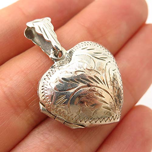 925 Sterling Silver Vintage Etched Floral Design Heart Locket Pendant Jewelry Making Supply by Wholesale Charms