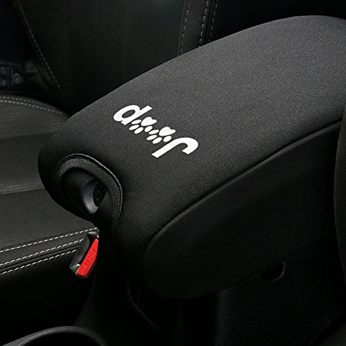 Neoprene Center Console Armrest Pad Cover For Jeep Wrangler JK Sahara Sport Rubicon X & Unlimited 2011 2012 2013 2014 2015 2016 2017 with Jeep Dog Paw Paws Print logo