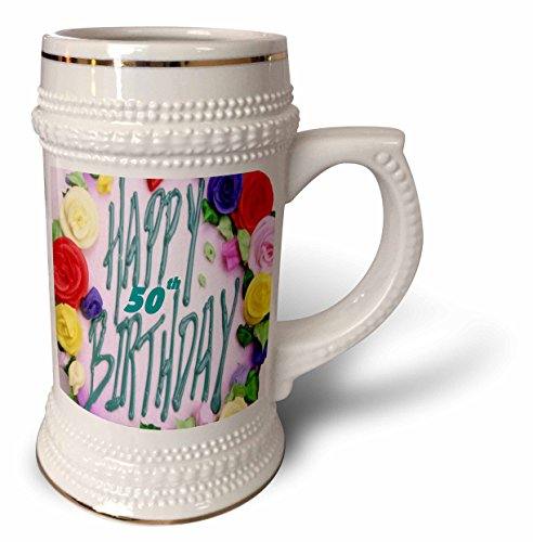 3dRose Florene Special Events - Happy 50th Birthday.png - 22oz Stein Mug (stn_52359_1)