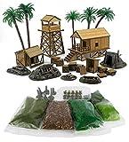 War World Gaming Jungle Warfare Complete Military Base Camp & Scenery Materials - 28mm Pacific Rim Wargaming Terrain Model Diorama Wargame Landscape Encampment