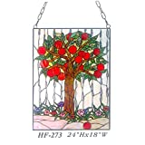 HF-273 Tiffany Style Stained Glass Apple Tree Rectangle Window Hanging Glass Panel Sun Catcher, 24''Hx18''W