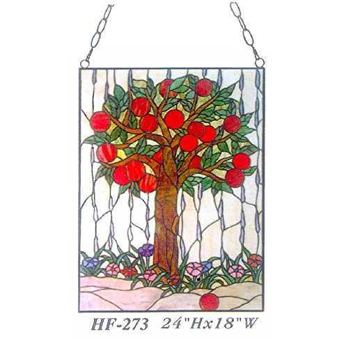 HF-273 Tiffany Style Stained Glass Apple Tree Rectangle Window Hanging Glass Panel Sun Catcher, 24