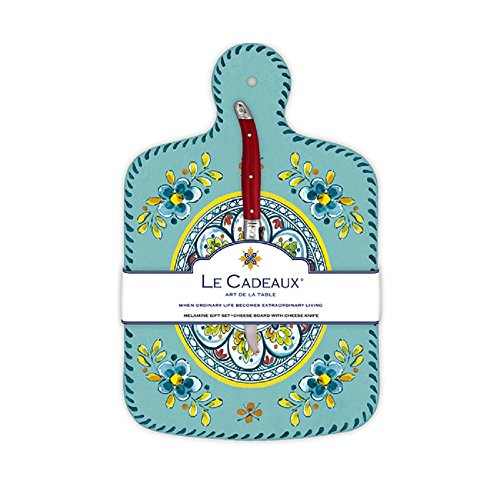 Le Cadeaux Madrid Cheese Board With Knife, Turquoise (Turquoise Cheese Knife)