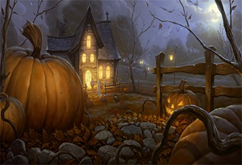 Laeacco Halloween Theme Backdrop 8x6ft Photography Background Fairytale Small Village Haunted Lighting House Huge Pumpkin Lamps Weird Branches Rocks Fallen Leaves Trick or Treat Party Kids Baby Shoot