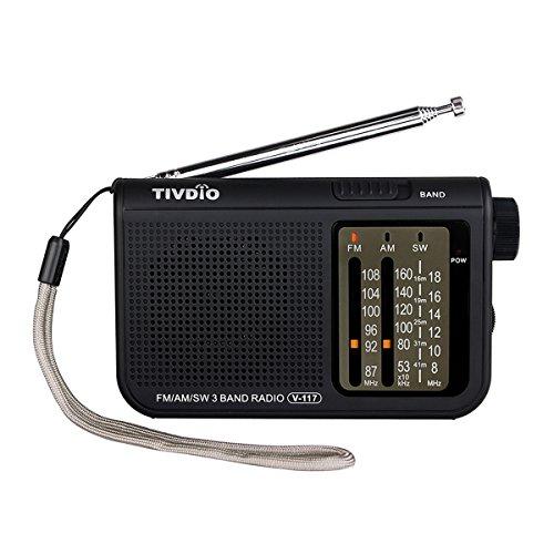 TIVDIO V-117 Portable AM FM Shortwave Radio Battery Powered Radio Transistor Headphone Jack Small Compact Size Emergency with DSP(Black)