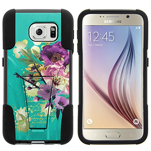 Galaxy S6 Case, Full Body Fusion STRIKE Impact Kickstand Case with Exclusive Illustrations for Samsung Galaxy S6 VI SM-G920 (T Mobile, Sprint, AT&T, US Cellular, Verizon) from MINITURTLE | Includes Clear Screen Protector and Stylus Pen - Painted Flowers