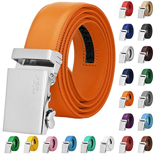 Falari Men Unisex Genuine Leather Ratchet Dress Belt Automatic Sliding Buckle - 20 Variety Colors - Trim to Fit (8170 - Orange, XL - Fit from waist 28 to 42