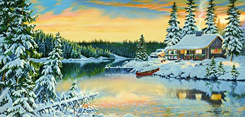 SunsOut Cabin on The River 1000 Piece Jigsaw Puzzle