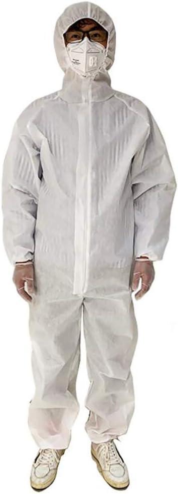 ZWPY Mono de protección Color Blanco, Prueba de Polvo Ropa Protectora, Overoles Antipolvo Antiestáticos, para Hombres/Mujeres