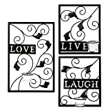Hosley's Set of 3 Tealight Iron Wall Sconce - Laugh, Love, Live, Dark Brown, Hand made by Artisans. Ideal Gift for Wedding, Special Occasion, Spa, Aromatherapy, Tea Light/Votive Candle Gardens O3