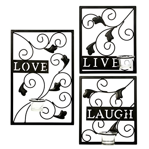 Hosley's Set of 3 Live, Laugh, Love Wall Sconce, Metal Wall Decor. Ideal Gift for Wedding, Party, Tea Lite / LED / Votive Candle Garden, Spa, Aromatherapy, Reiki, Chakra (Leaf Candle Wall Sconce)