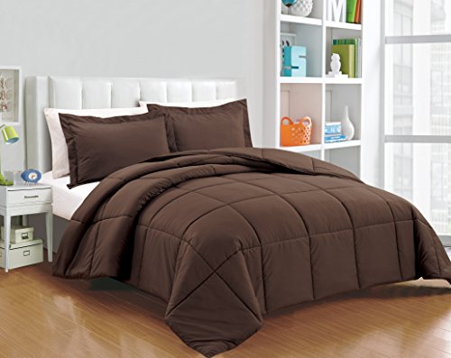 Chezmoi Collection 3-piece Down Alternative Comforter Set (Queen, Chocolate) (Set Comforter Brown Bed)