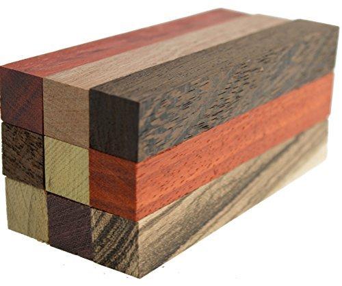 Exotic Wood Pen Blanks 9-Pack: Sapele, Bloodwood, Peruvian Walnut, Padauk, Iroko, Purple Heart, Wenge, Yellow Heart, Zebrawood