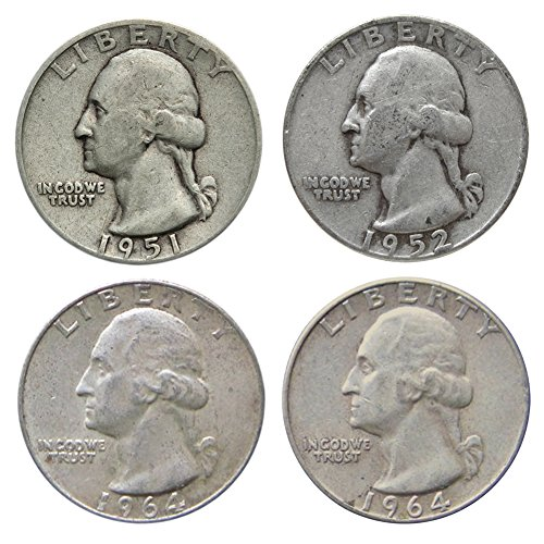 Silver Quarters - $1 Face Count of Four 90% Silver Washington Quarters Fine