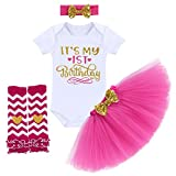It's My 1st / 2nd Birthday Outfit Baby Girl Romper Tutu Skirt Glitter Sequin Bowknot Headband Leg...