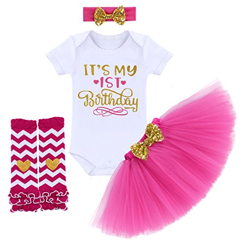 It's My 1/2 / 1st / 2nd Birthday Outfit Baby Girls Romper + Ruffle Tulle Skirt + Sequins Bow Headband + Leg Warmers Socks Party Dress up Costume 4Pcs Photo Cake Smash Clothe Set Hot Pink 1 Year