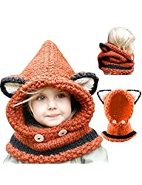 Bonice Winter Knitting Warm Cap Hat 2017 Winter Warm Hooded Scarf Caps Hat Earflap, Toddlers Cool Girls Boys Baby Kids Woolen Coif Hood Scarf Beanie, Fleece Full Face Head and Neck Cover Warmer Windproof Knitted Hat - Orange