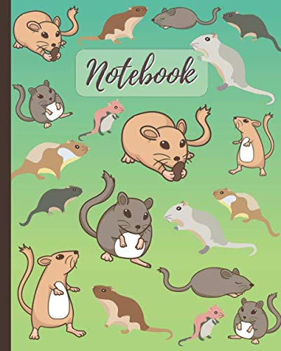 Notebook: Cute Gerbils Cartoon Cover - Lined Notebook, Diary, Track, Log & Journal - Cute Gift for Boys Girls Teens Men Women Who Love Gerbils (8' x10' 120 Pages)
