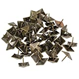WEONE Replacement Bronze Antique Square Upholstery Nails Tack Pyramid Studs Vintage Furniture 19 x 21mm (Pack of 50)