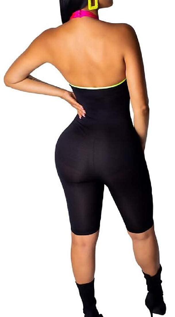 pipigo Womens Club Color Blocked Mesh See Through Sleeveless Short Jumpsuit Romper