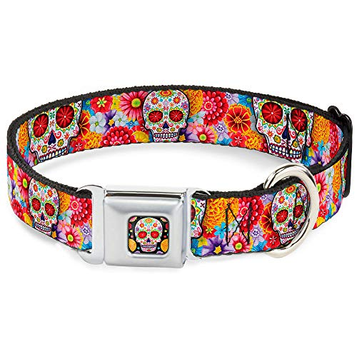 (Dog Collar Seatbelt Buckle Sugar Skull Starburst White Multi Color 15 to 26 Inches 1.0 Inch Wide)