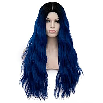 Image Unavailable. Image not available for. Color  Netgo Ombre Navy Blue  Synthetic Wigs For Women Long ... 6d7b2b0cbd