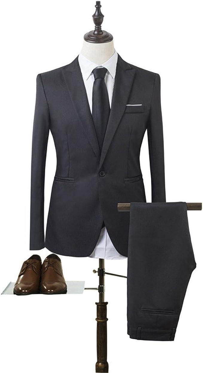 Wofupowga Mens Slim Fit 3 Piece Office Wedding One Button Blazer Vest Pants Suit Set