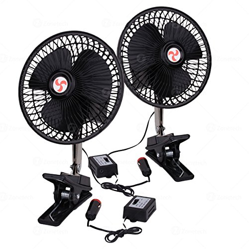 Zone Tech 2-Pack 12V Oscillating Fan - Includes clamp and Screws for Easy Attachment to either the Console or Dash