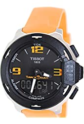 Tissot Black Dial Stainless Steel Orange Rubber Men's Watch T0814201705702