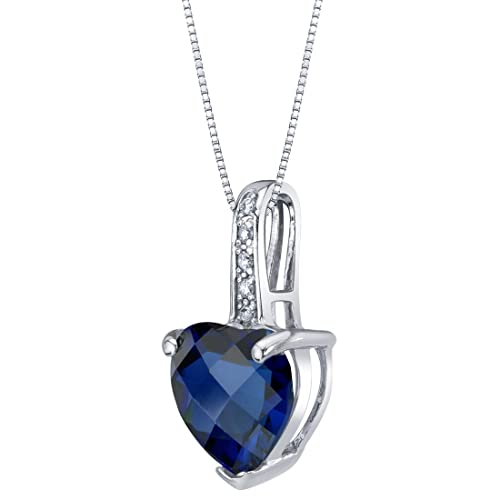 14K White Gold Diamond and Genuine or Created Gemstone Heart Pendant