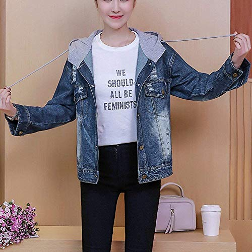 Jeans Autunno Moda Giovane Aspicture Primaverile Chic Stampato Jacket Blu Giacca Elegante Giaccone Cappuccio Star Cappotto Con Cute Donna Digitale dqaYtUxw4d