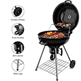 BEAU JARDIN Charcoal Grill 22.5 Inch Diameter Cooking Grate Charcoal BBQ Grill Outdoor Cooking with Thermometer and Warming Grid Round Charcoal Barbecue Grills Kettle Portable Camping Standing Grill