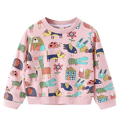 Toddler Girls Sweatshirt 100% Cotton Crewneck Cute Cartoon Print Pink Sweatshirts Pullover Tops 3T