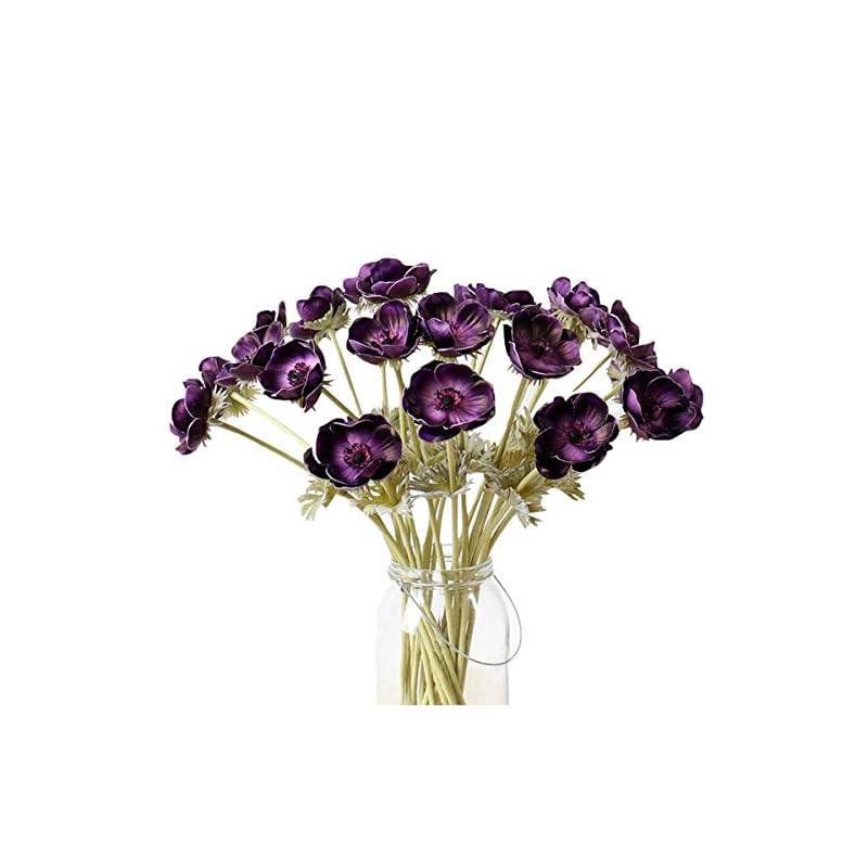 silk flower arrangements lebritamfa 5pcs artifical real touch pu anemone flower bouquet room home decor (purple)