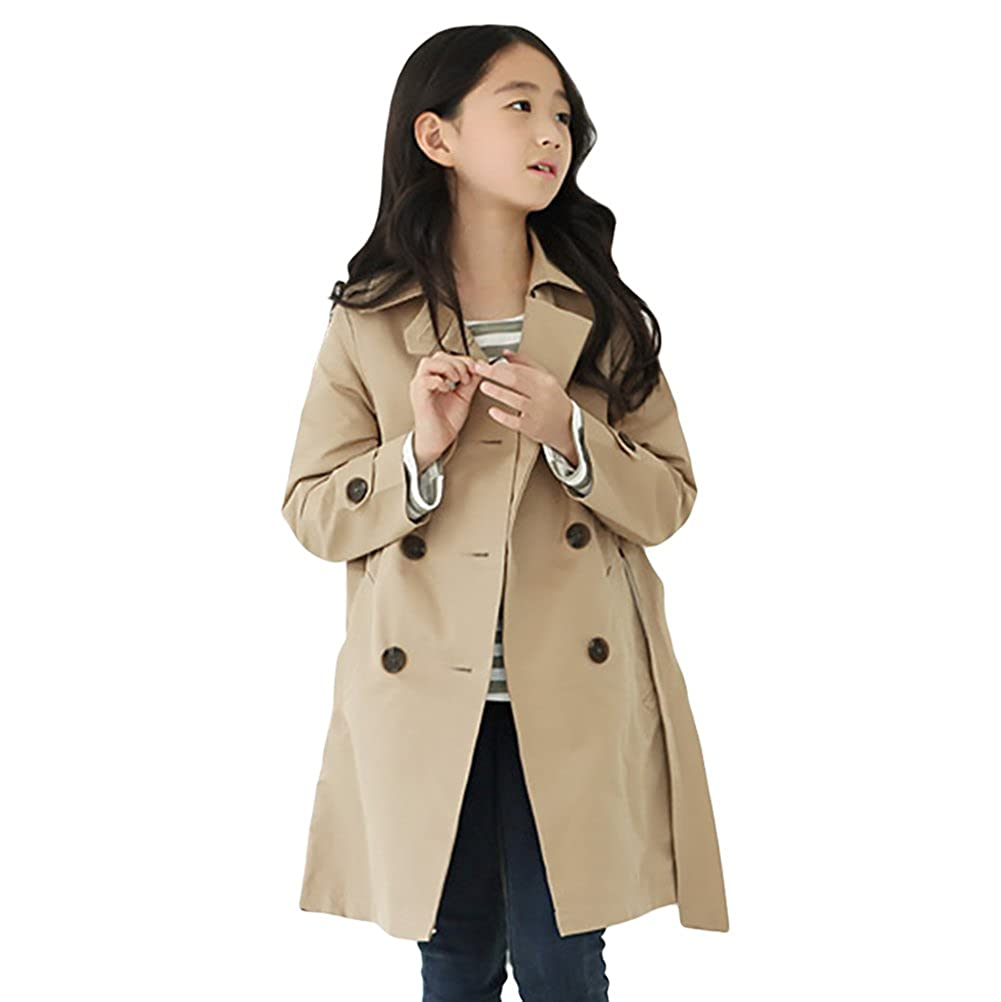 LOSORN ZPY Toddler Kid Little//Big Girl Trench Coat Child Double Breasted Outerwear Jacket