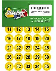 100 puntos adhesivos numerados, 25 mm, amarillo, de PVC, resistente a la intemperie, puntos de marcado, puntos, números, pegatinas
