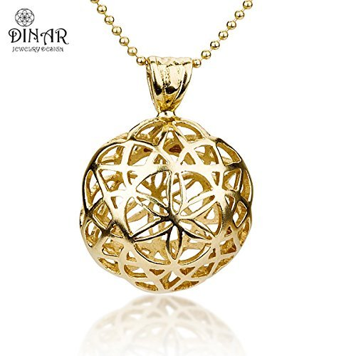 Amazon 18k gold plated silver flower of life pendant flower 18k gold plated silver flower of life pendant flower gold pendant flower ball shape aloadofball Image collections