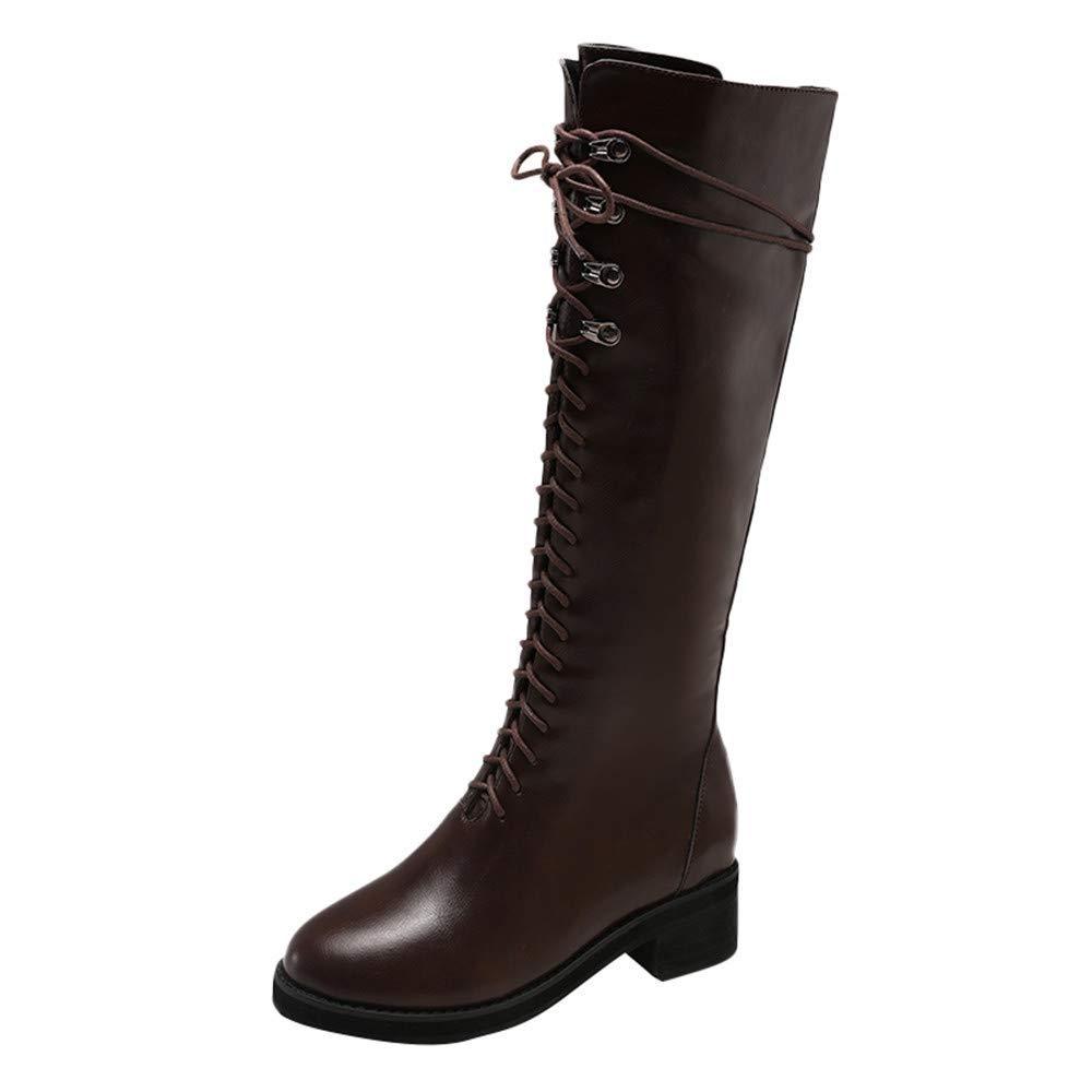 Qiusa Damen Retro Reitstiefel, runde Spitze Schuhe Lace-UP Schuhe quadratische Ferse Schuhe Lace-UP Leder Lange Schlauch Martin Stiefel Block Ferse Stiefel 11db48