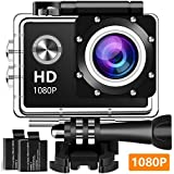 Koawxc Action Camera 16MP 1080P Underwater Photography Cameras 140 Degree Ultra Wide Angle Lens with 2 Pcs Rechargeable Batteries and Mounting Accessories Kits - Black03