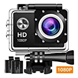 Koawxc Action Camera 16MP 1080P Underwater Photography Cameras 170 Degree Ultra Wide Angle Lens with 2 Pcs Rechargeable Batteries and Mounting Accessories Kits - Black04