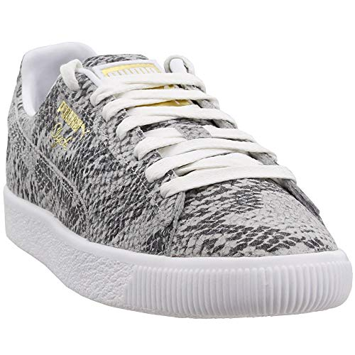 PUMA Women's Clyde AO Reptile Sneakers, White/Black/Gold, 8 M US