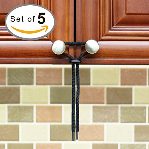 Baby Proofing Cabinet Latch [5-Pack] Eco-Friendly kit for Child Proof Home Safety - Universal fit works on any Knob, Lock, Gate, Drawer or Cabinet - Perfect for RV and Boat Storage Solutions - Black