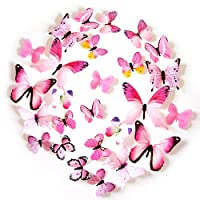 FLY SPRAY 24pcs Vivid Butterfly Mural Decor Removable Wall Stickers with Adhesive Decals Nursery Decoration 3D Crafts