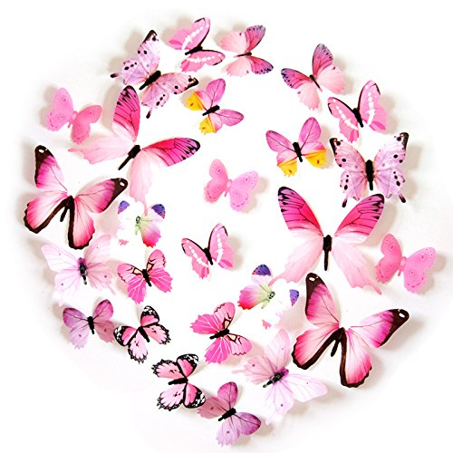 FLY SPRAY 24pcs Vivid Pink Butterfly Mural Decor Removable Wall Stickers with Adhesive Decals Nursery Decoration 3D (Outside Decorating Ideas)